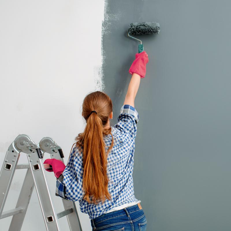painter paints walls indoor